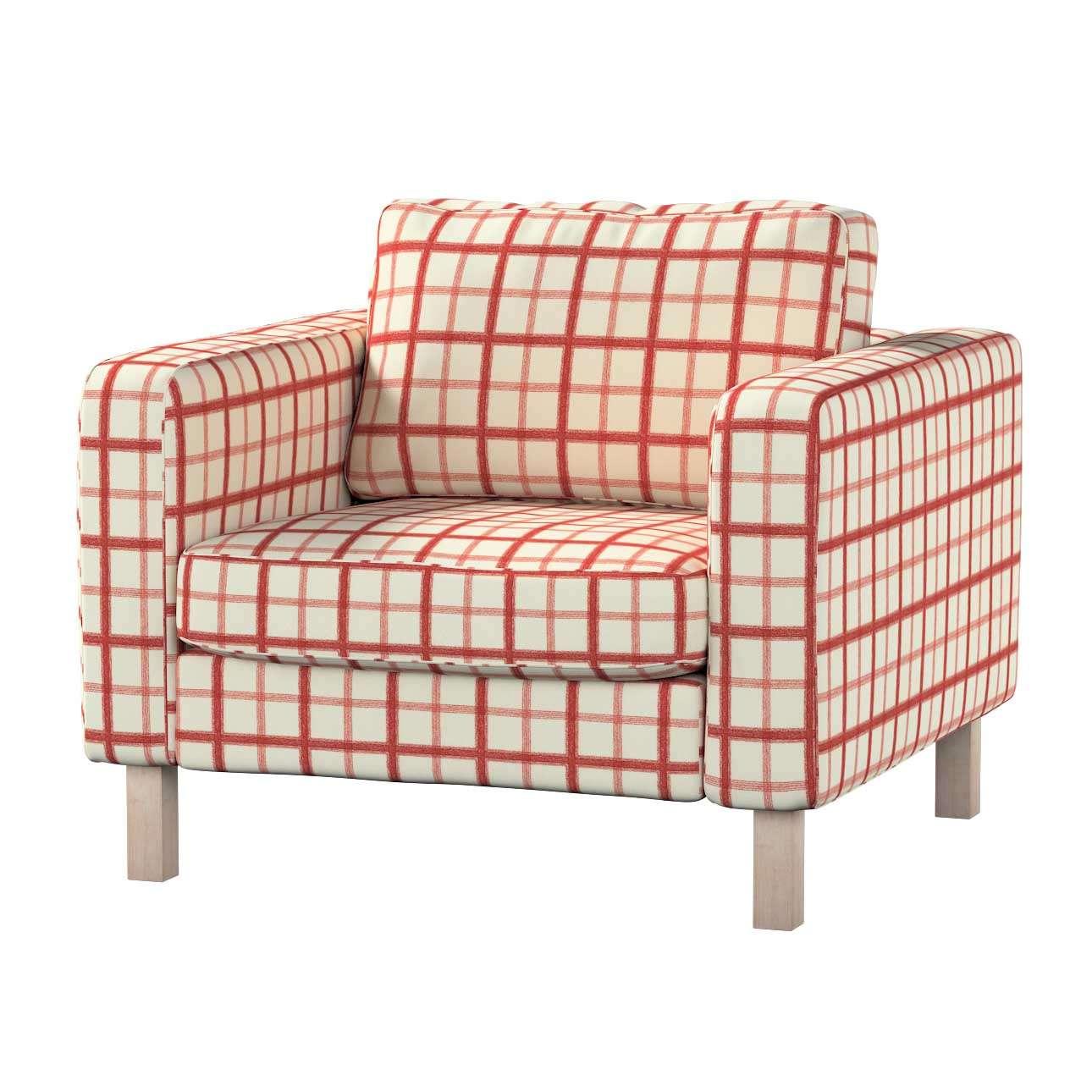Pokrowiec na fotel Karlstad, krótki Fotel Karlstad w kolekcji Avinon, tkanina: 131-15