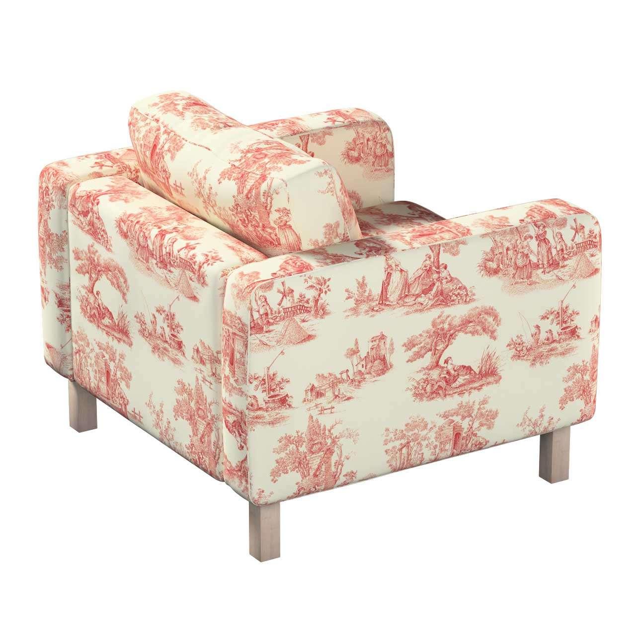 Pokrowiec na fotel Karlstad, krótki w kolekcji Avinon, tkanina: 132-15