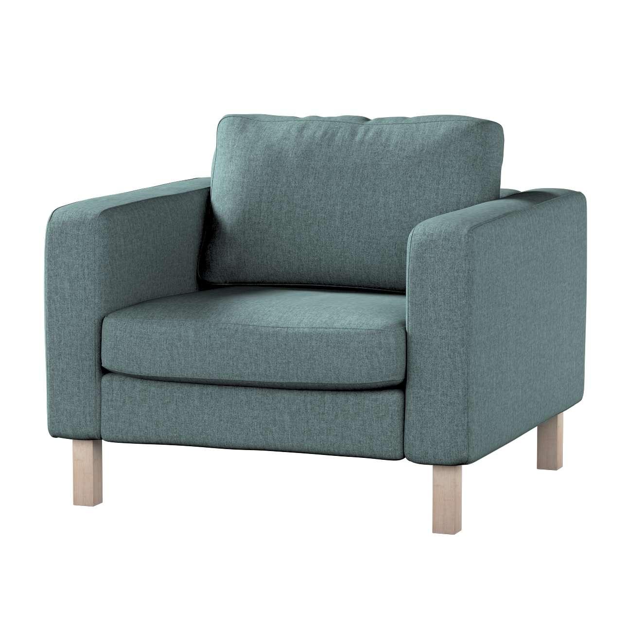 Pokrowiec na fotel Karlstad, krótki w kolekcji City, tkanina: 704-85