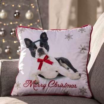 Merry Christmas Pug 43x43cm  - Dekoria.se
