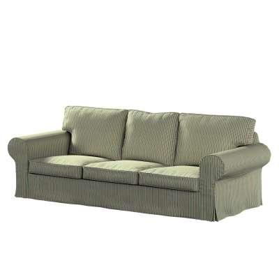 Pokrowiec na sofę Ektorp 3-osobową, rozkładaną, PIXBO 143-42 pasy w odcieniach zieleni i czerwieni Kolekcja Londres