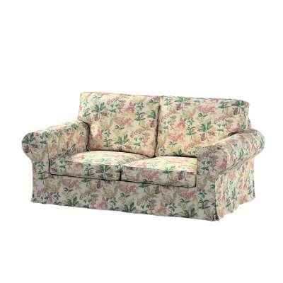 Pokrowiec na sofę Ektorp 2-osobową, rozkładaną, model do 2012 143-41 różowo-beżowe rośliny na tle ecru Kolekcja Londres