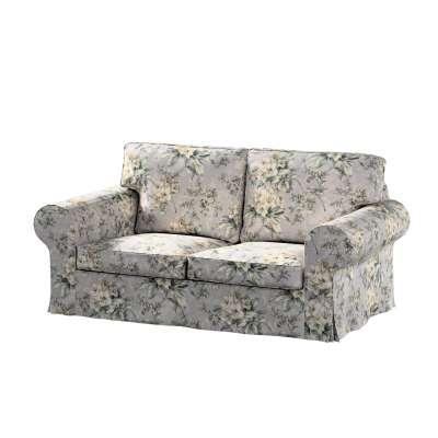 Pokrowiec na sofę Ektorp 2-osobową, rozkładaną, model do 2012 143-36 oliwkowo-beżowe kwiaty na szarym tle Kolekcja Londres