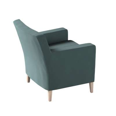 Pokrowiec na fotel Karlstad 705-36 zgaszony szmaragd - welwet Kolekcja Ingrid