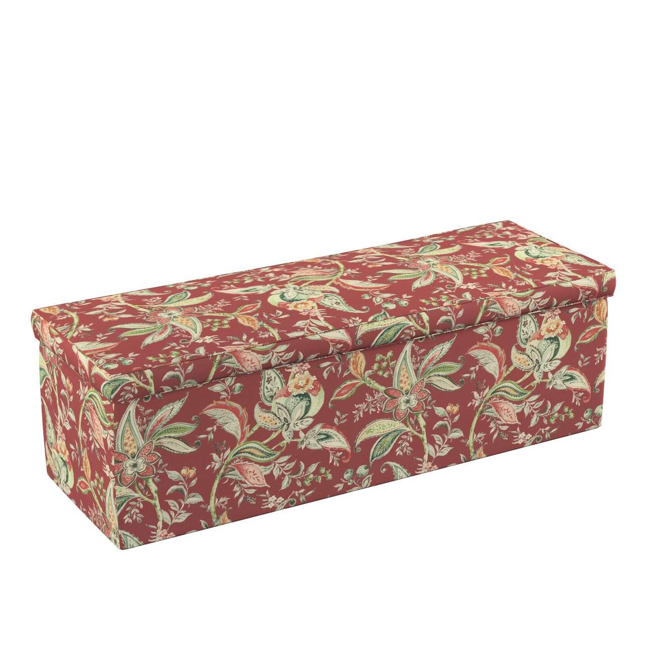 Dekoria Čalouněná skříň s volbou látky - 2 velikosti, rostlinné a květové vzory na cihlově červeném podkladu, 90 × 40 × 40 cm, Gardenia, 142-12