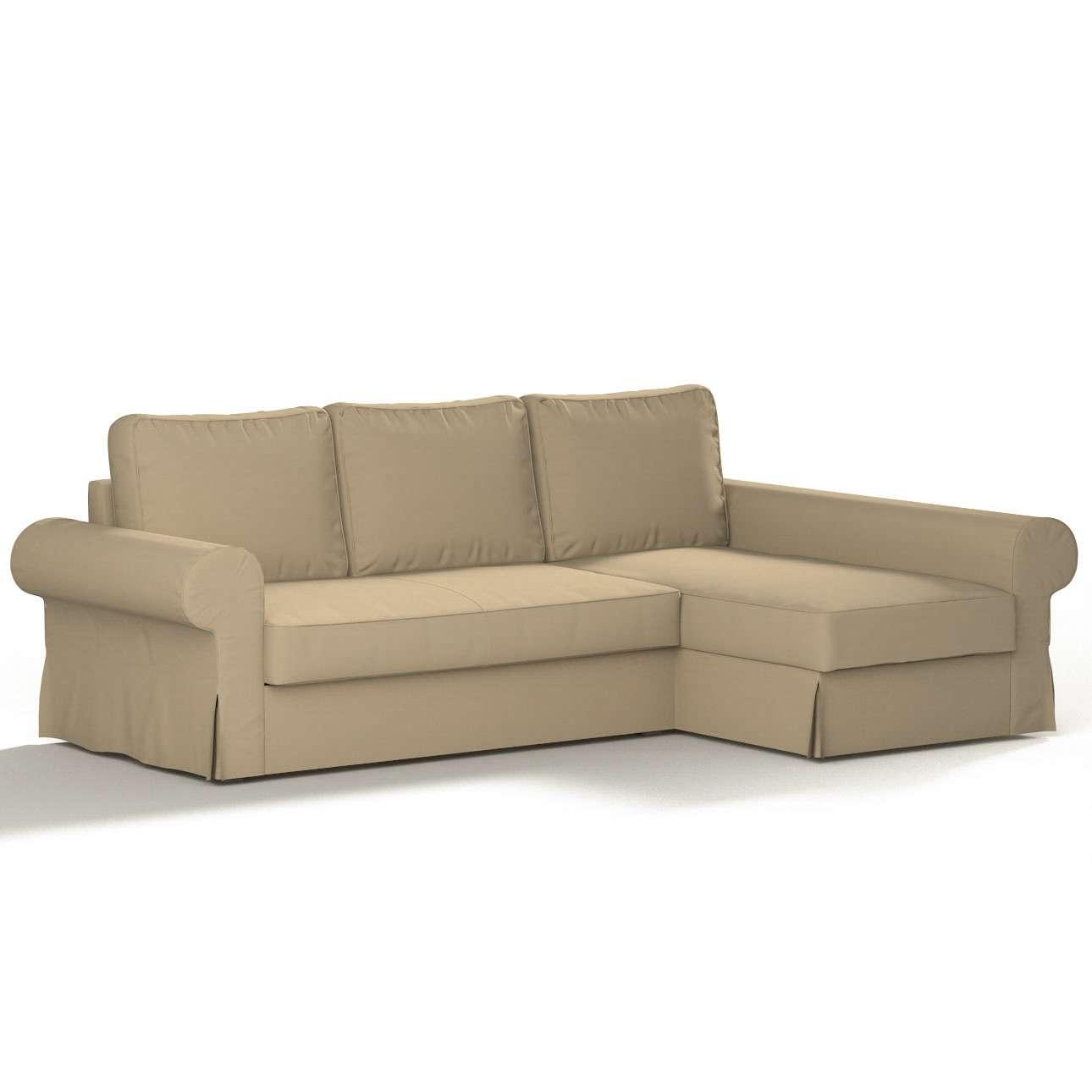 Pokrowiec na sofę Backabro rozkładaną z leżanką w kolekcji Cotton Panama, tkanina: 702-01