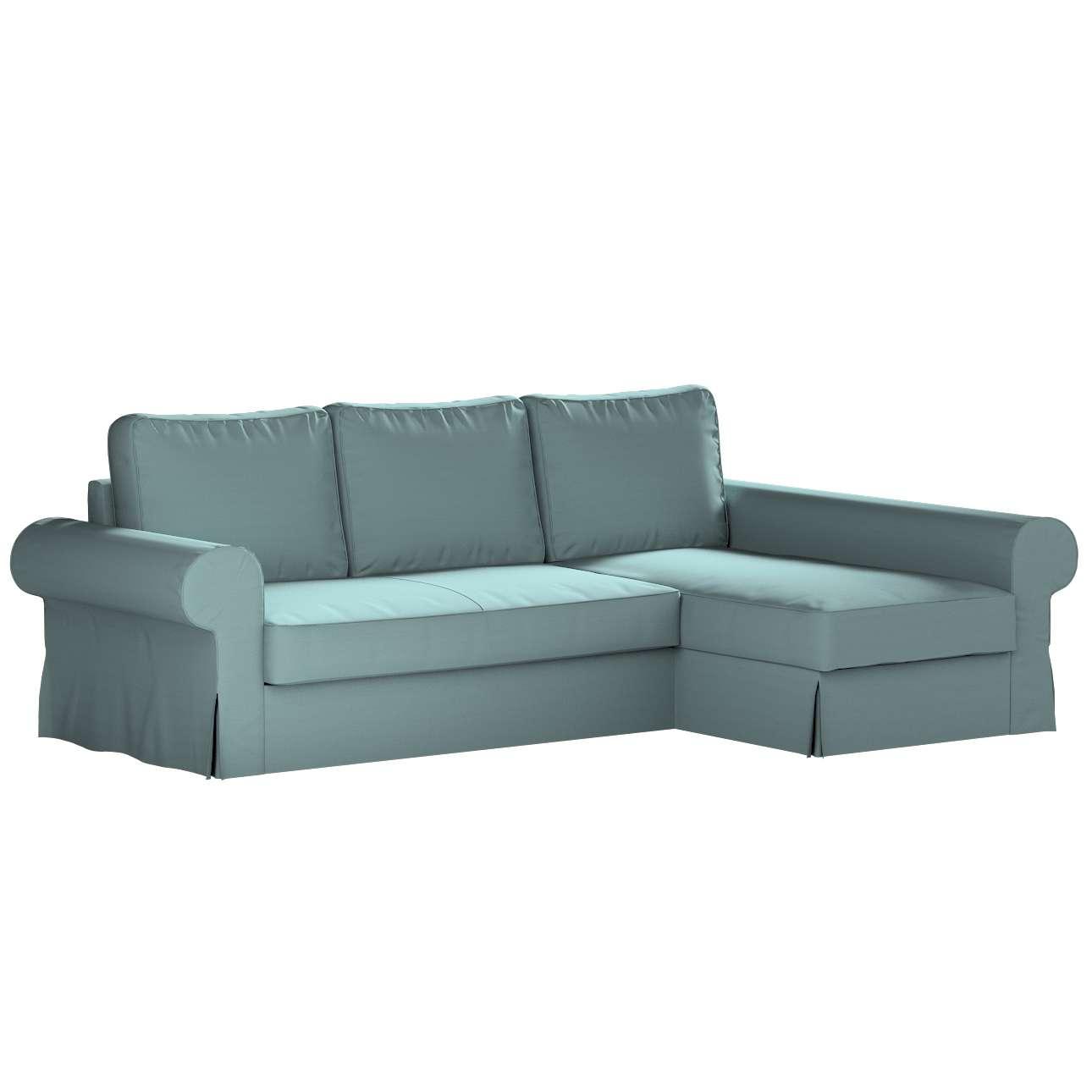 Pokrowiec na sofę Backabro rozkładaną z leżanką w kolekcji Cotton Panama, tkanina: 702-40
