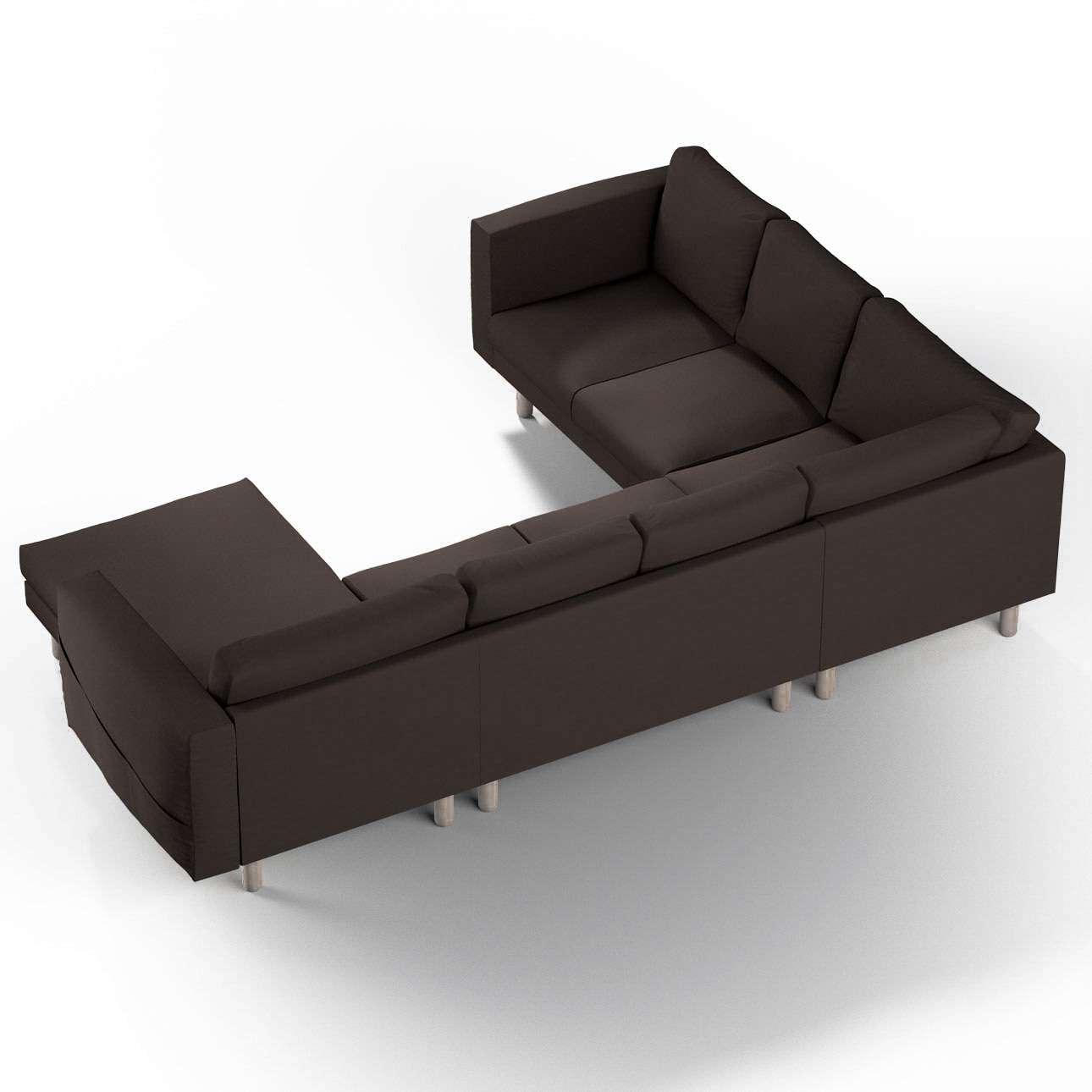 Pokrowiec na sofę narożną Norsborg 5-osobową z szezlongiem w kolekcji Cotton Panama, tkanina: 702-03