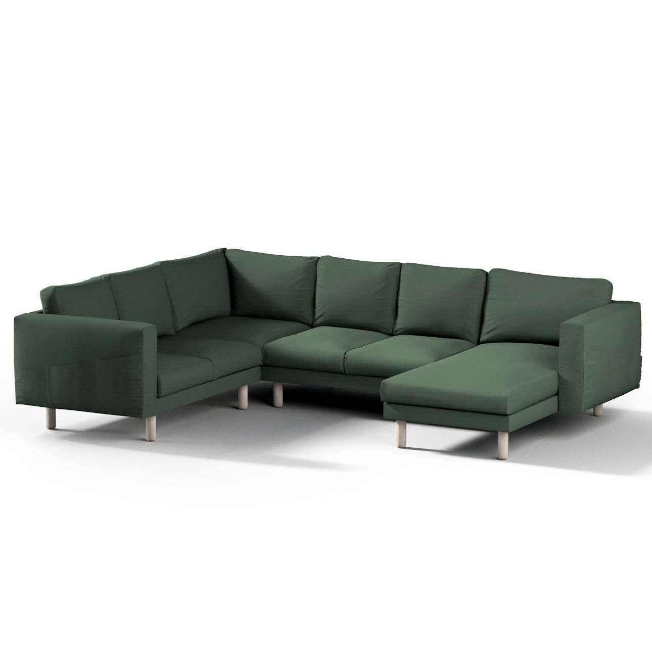 Pokrowiec na sofę narożną Norsborg 5-osobową z szezlongiem w kolekcji Cotton Panama, tkanina: 702-06