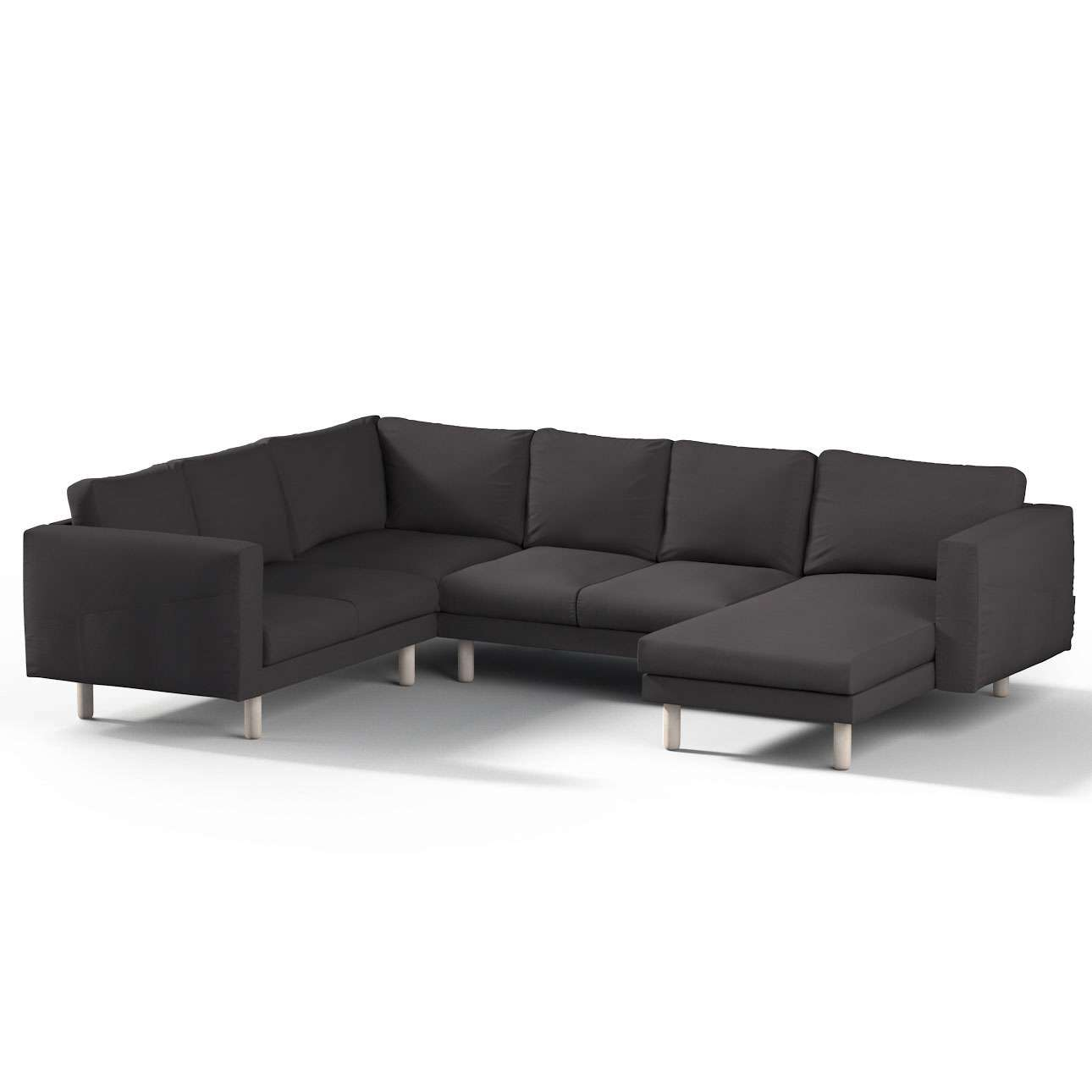 Pokrowiec na sofę narożną Norsborg 5-osobową z szezlongiem w kolekcji Cotton Panama, tkanina: 702-09
