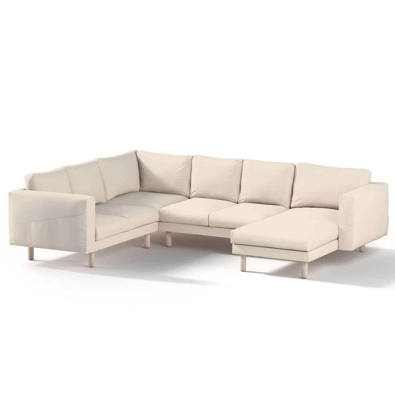 Pokrowiec na sofę narożną Norsborg 5-osobową z szezlongiem w kolekcji Etna, tkanina: 705-01