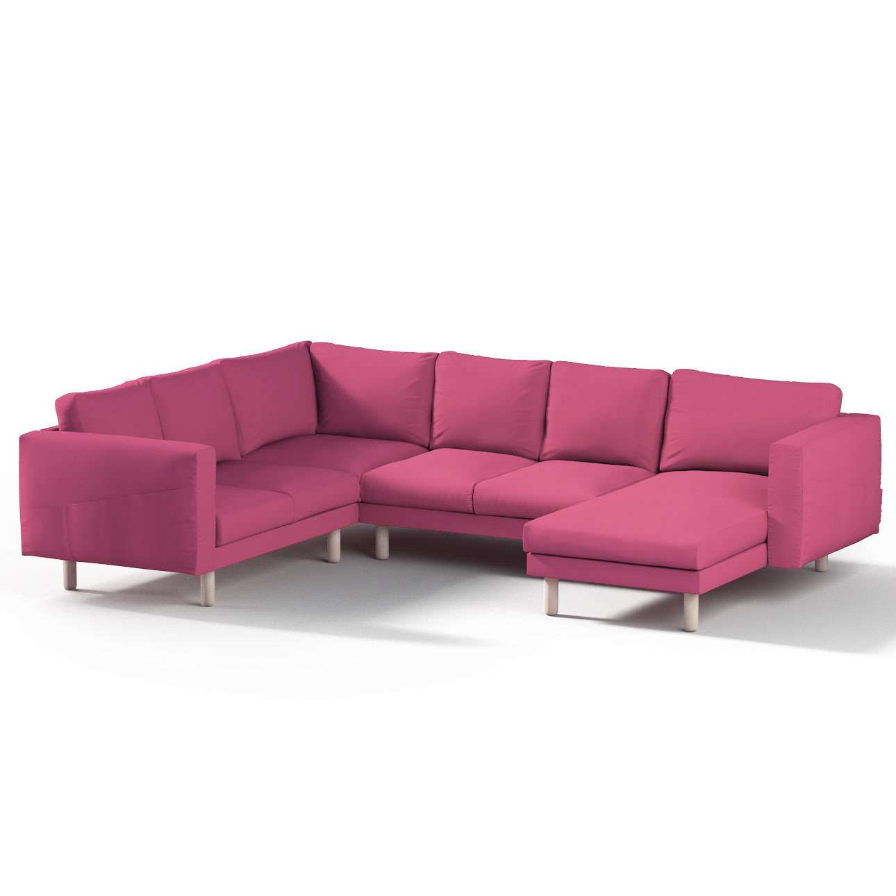 Pokrowiec na sofę narożną Norsborg 5-osobową z szezlongiem w kolekcji Etna, tkanina: 705-23