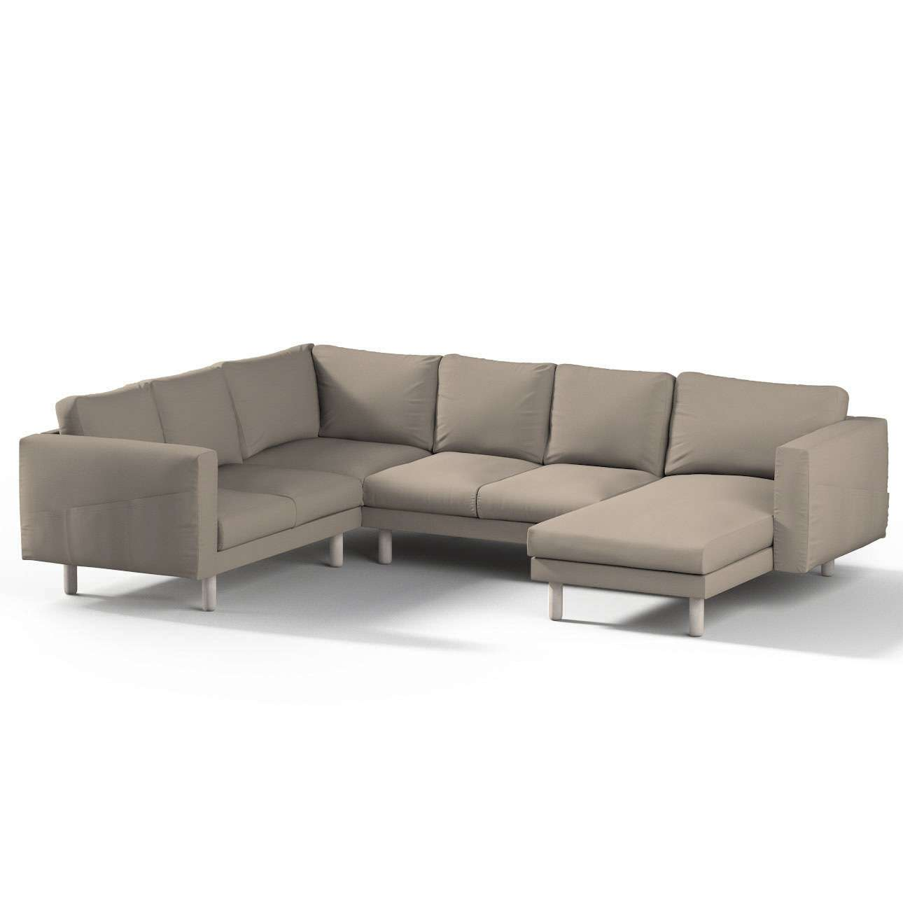 Pokrowiec na sofę narożną Norsborg 5-osobową z szezlongiem w kolekcji Cotton Panama, tkanina: 702-28