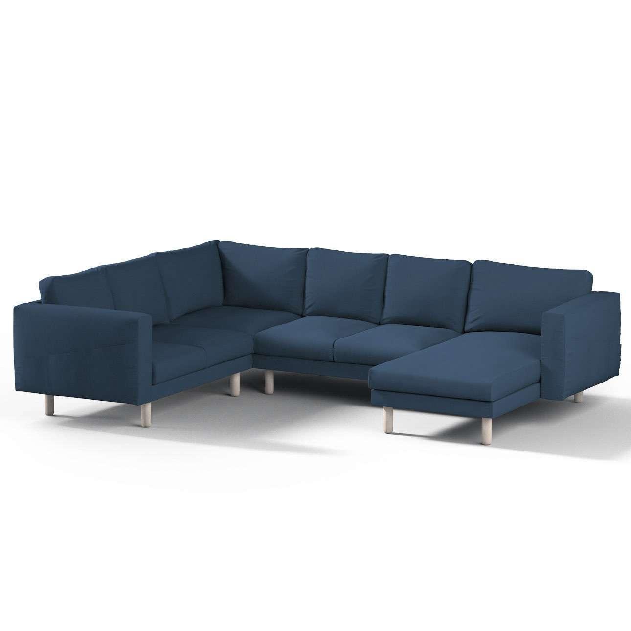 Pokrowiec na sofę narożną Norsborg 5-osobową z szezlongiem w kolekcji Cotton Panama, tkanina: 702-30