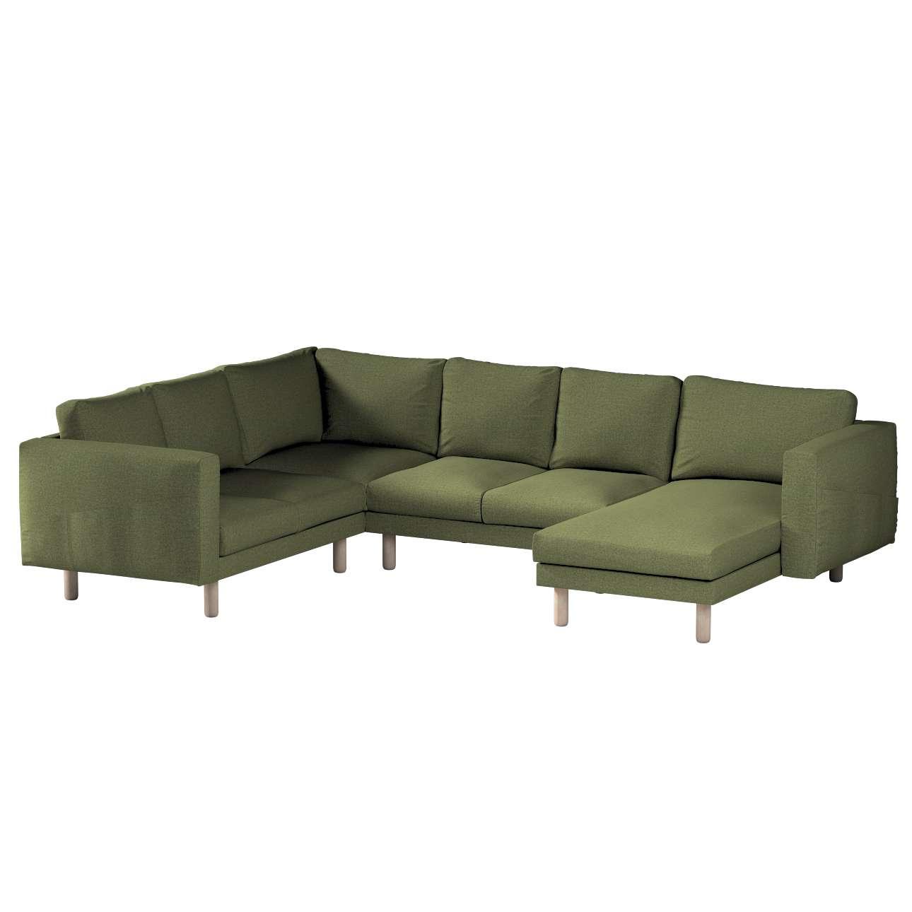 Pokrowiec na sofę narożną Norsborg 5-osobową z szezlongiem w kolekcji Madrid, tkanina: 161-22