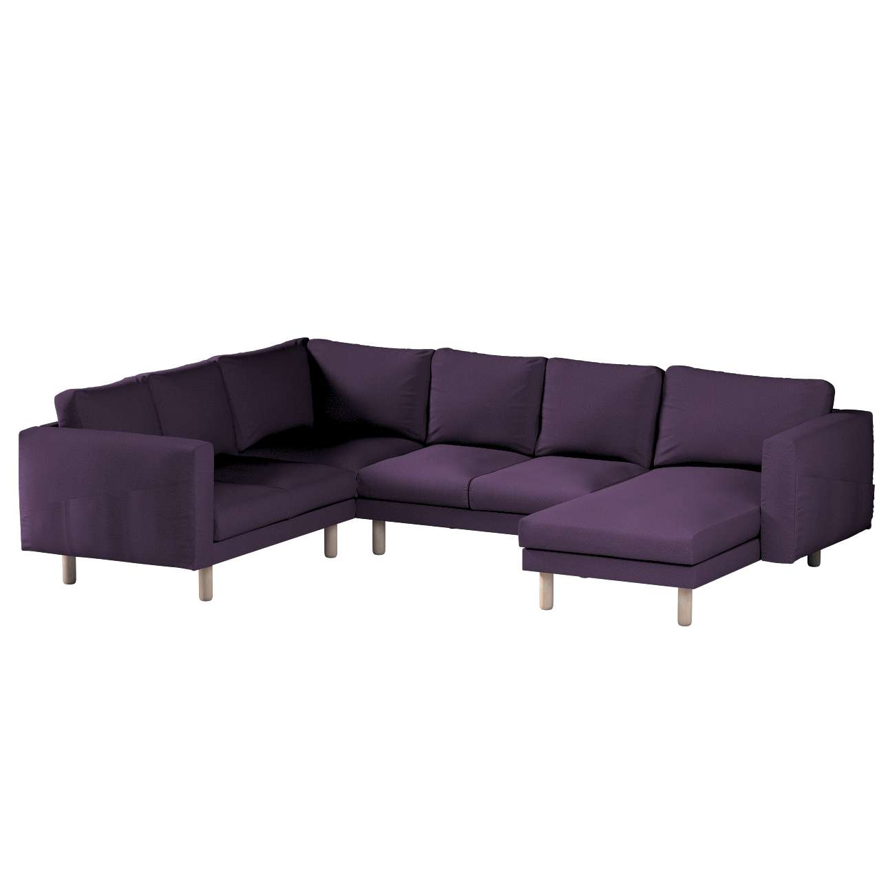 Pokrowiec na sofę narożną Norsborg 5-osobową z szezlongiem w kolekcji Etna, tkanina: 161-27
