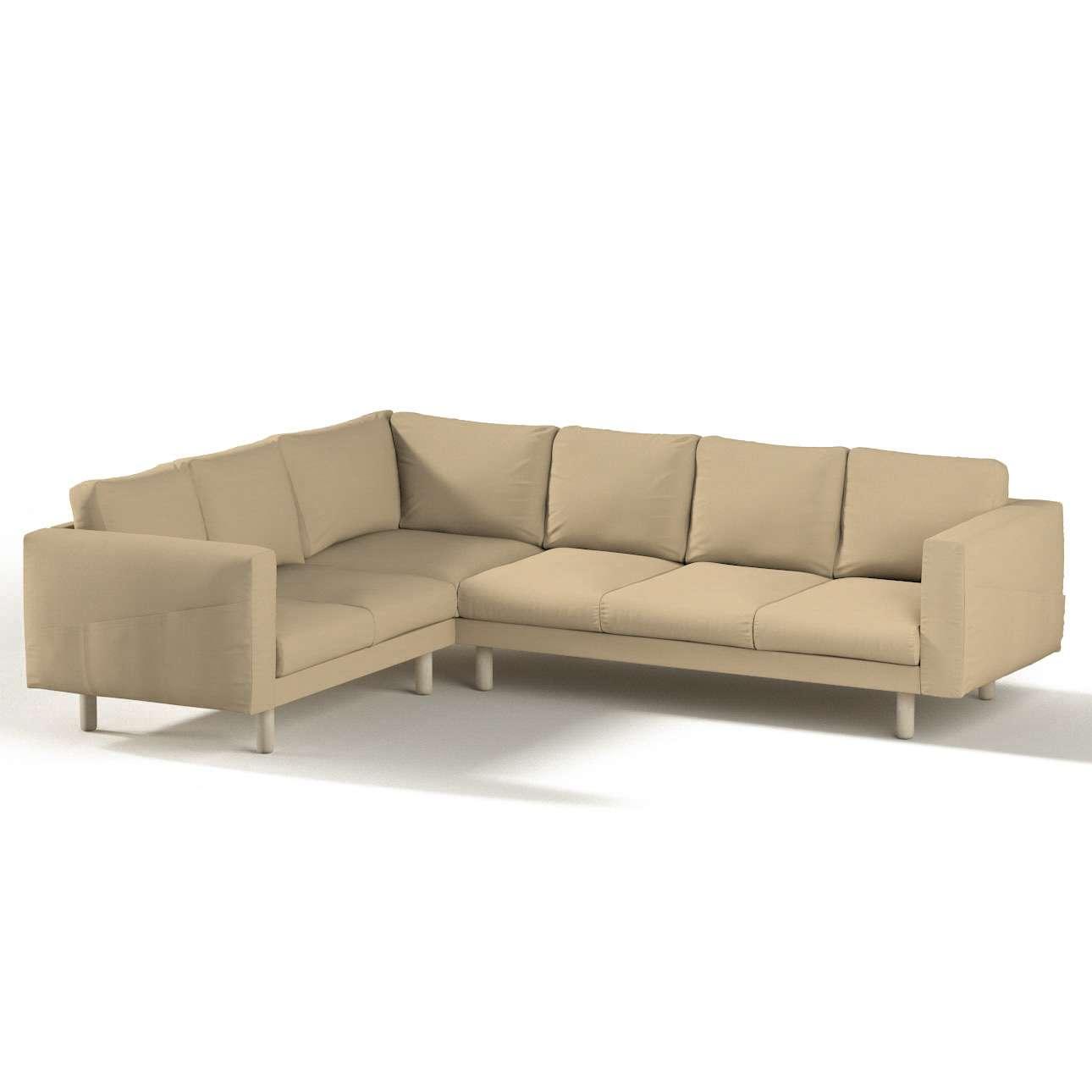 Pokrowiec na sofę narożną Norsborg 5-osobową w kolekcji Cotton Panama, tkanina: 702-01