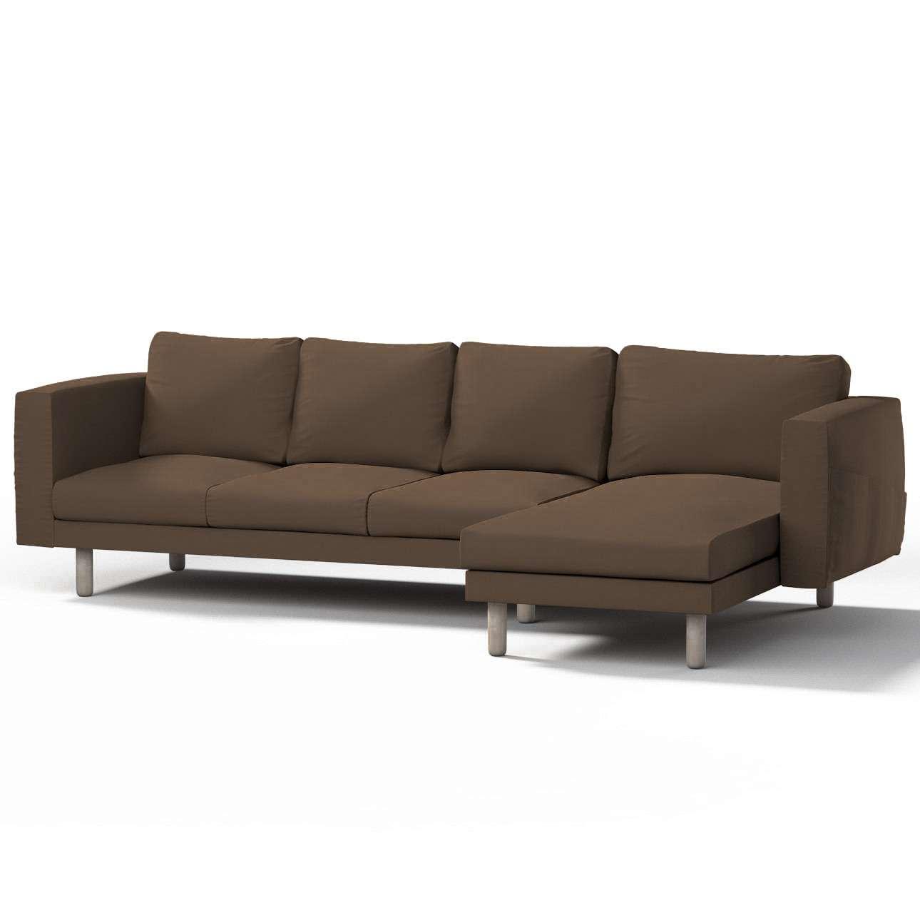 Pokrowiec na sofę Norsborg 4-osobową z szezlongiem w kolekcji Cotton Panama, tkanina: 702-02