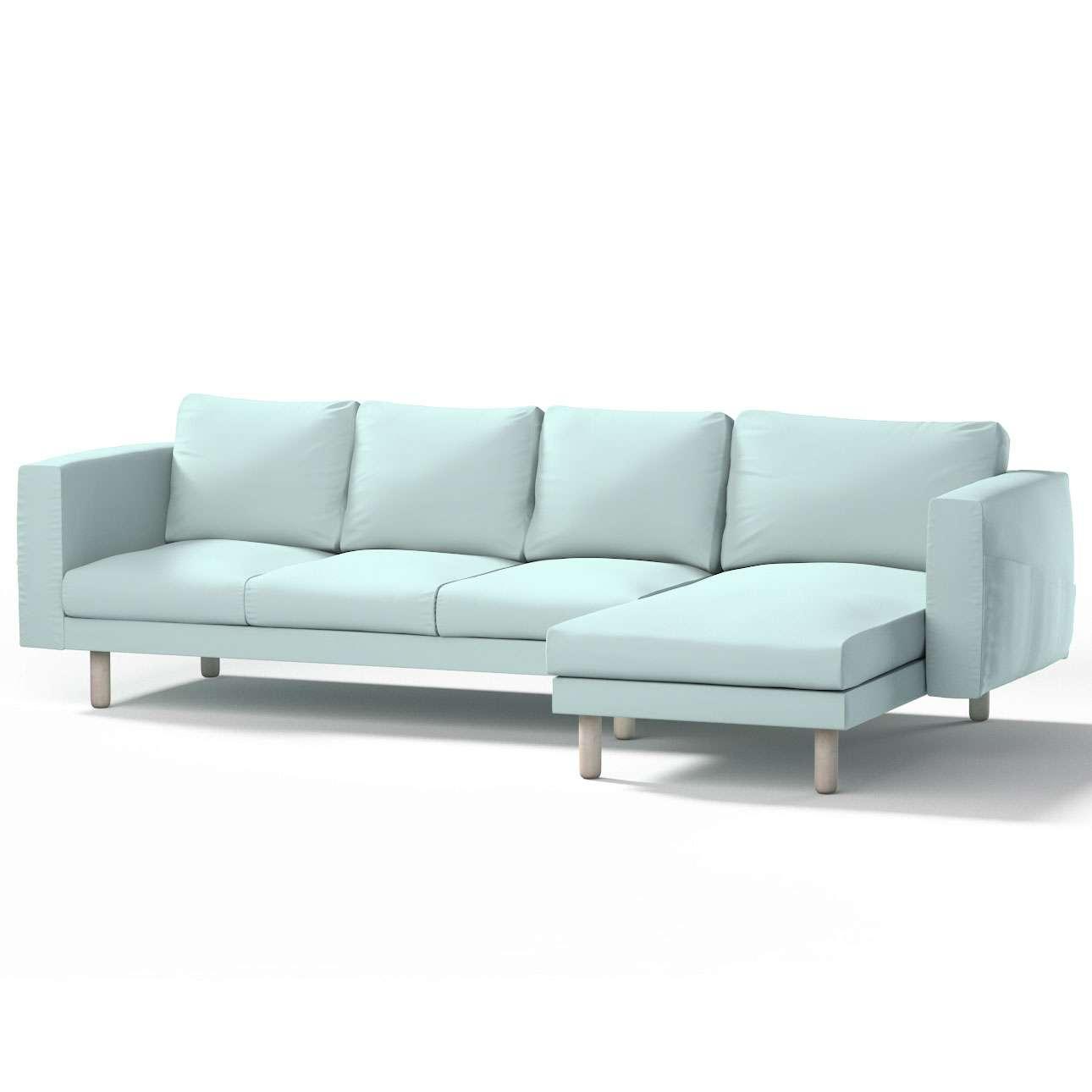 Pokrowiec na sofę Norsborg 4-osobową z szezlongiem w kolekcji Cotton Panama, tkanina: 702-10