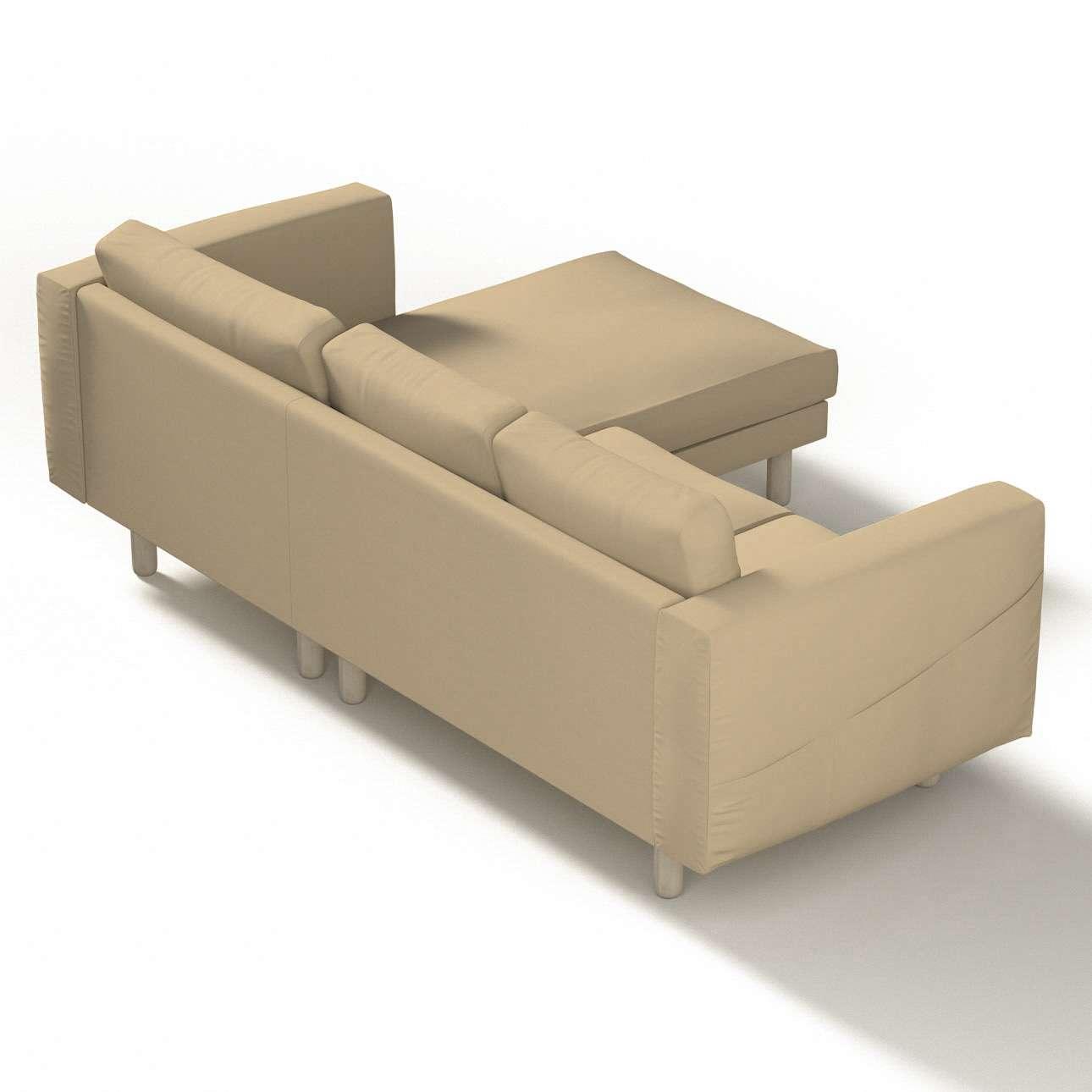 Pokrowiec na sofę Norsborg 3-osobową z szezlongiem w kolekcji Cotton Panama, tkanina: 702-01