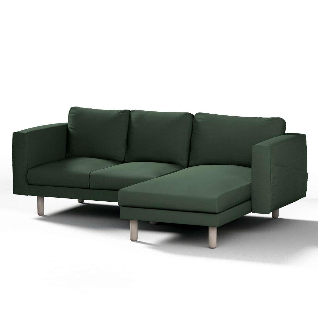 Pokrowiec na sofę Norsborg 3-osobową z szezlongiem w kolekcji Cotton Panama, tkanina: 702-06