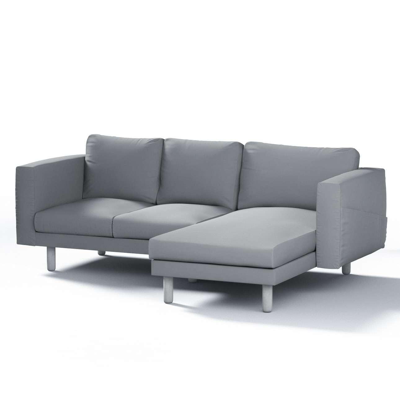 Pokrowiec na sofę Norsborg 3-osobową z szezlongiem w kolekcji Cotton Panama, tkanina: 702-07