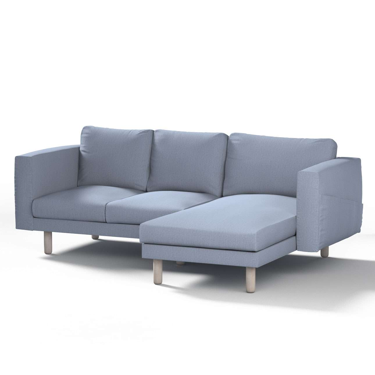 norsborg bezug f r 3 sitzer sofa mit recamiere silber blau dekoria. Black Bedroom Furniture Sets. Home Design Ideas
