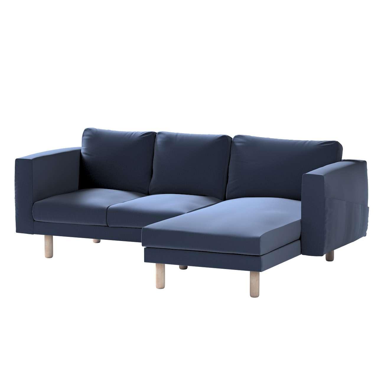 Pokrowiec na sofę Norsborg 3-osobową z szezlongiem w kolekcji Ingrid, tkanina: 705-39