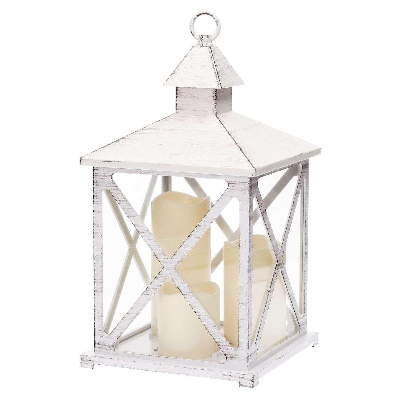 Laterne Three Candles LED 37cm, 19 × 19 × 37 cm | Dekoration > Kerzen und Kerzenständer | Dekoria