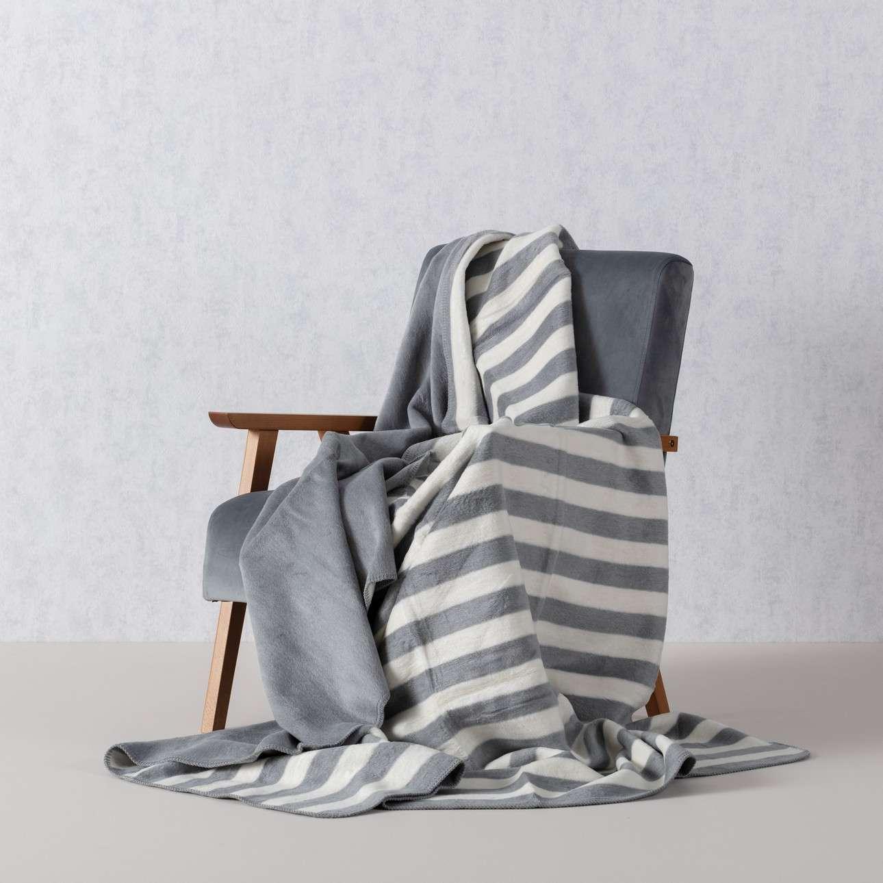 Deka Cotton Cloud 150x200 cm šedá s prúžkami