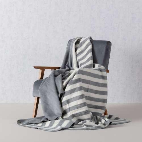 Cotton Cloud Blanket -  Grey & White Stripes 150x200cm