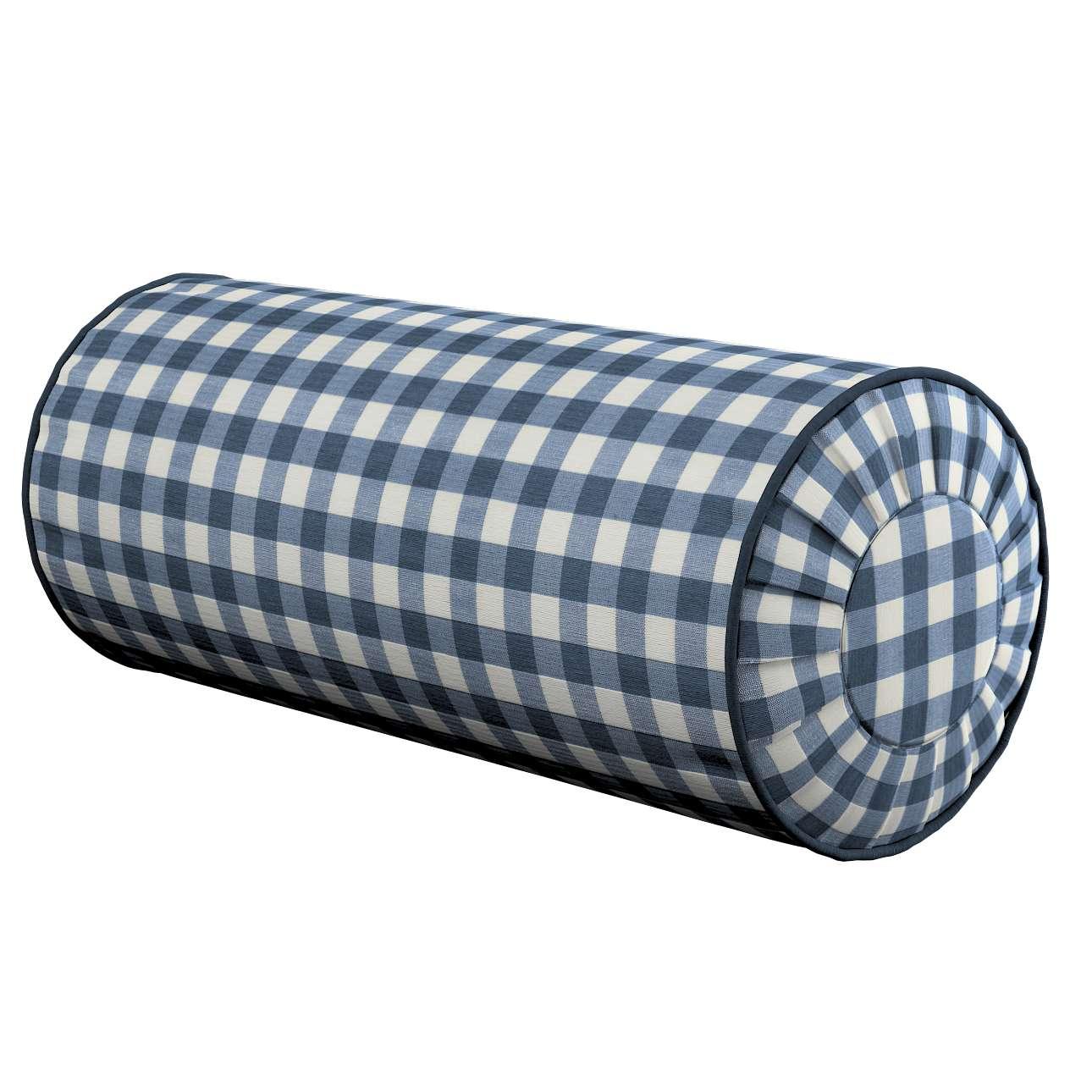 Poduszka wałek z zakładkami Ø20x50cm w kolekcji Quadro, tkanina: 136-01