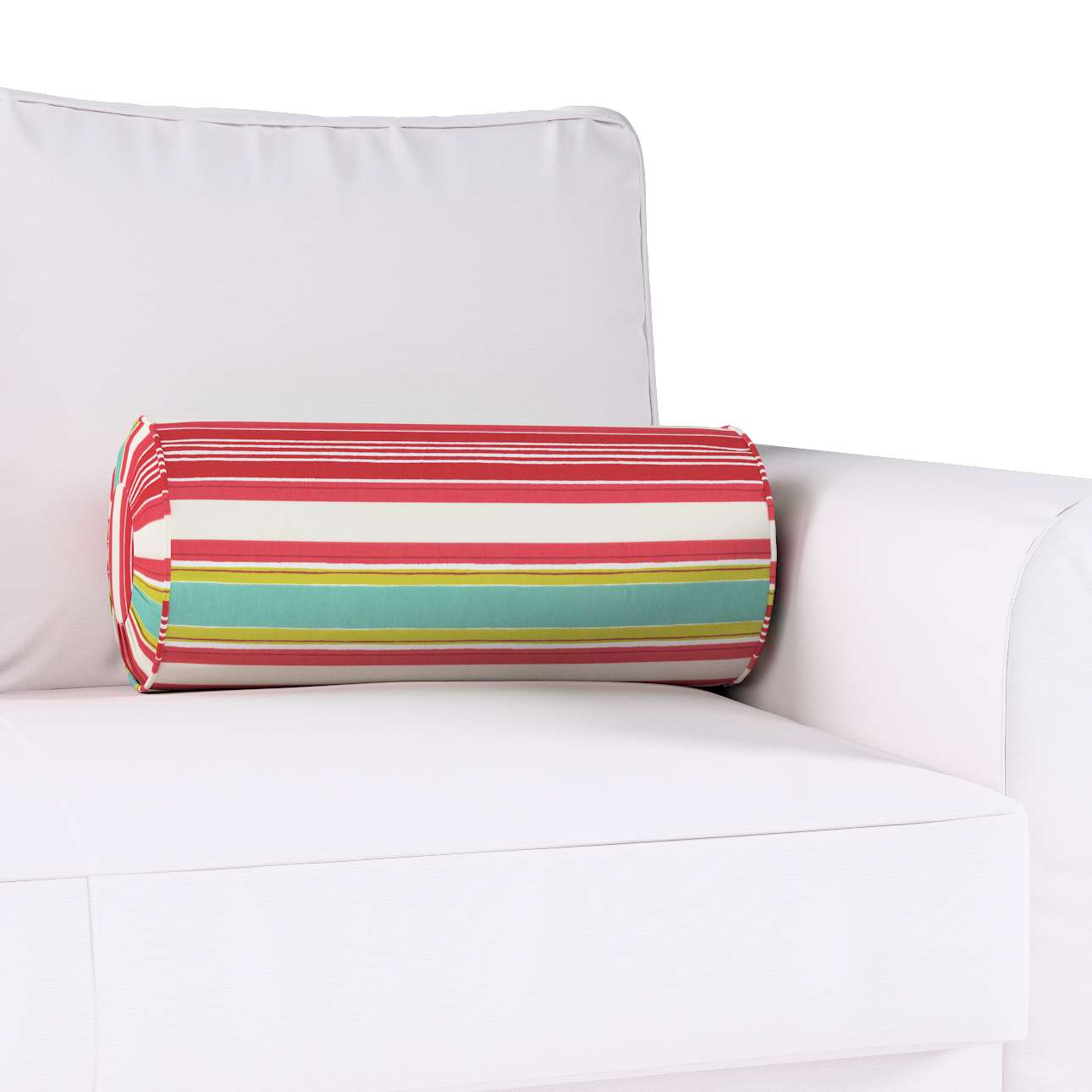 Bolster cushion with pleats Ø 20 x 50 cm (8 x 20 inch) in collection Londres, fabric: 122-01