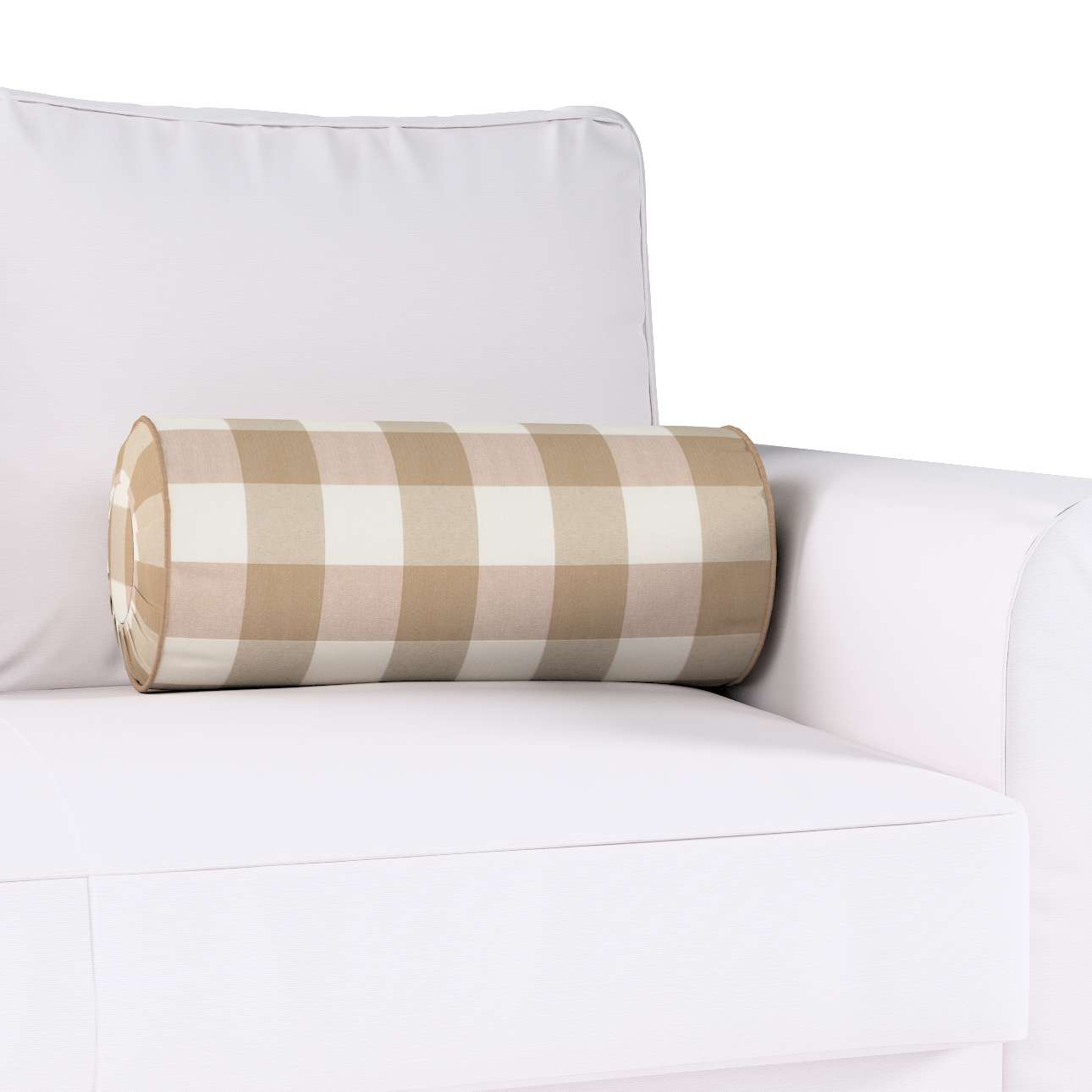 Bolster cushion with pleats in collection Quadro, fabric: 136-08
