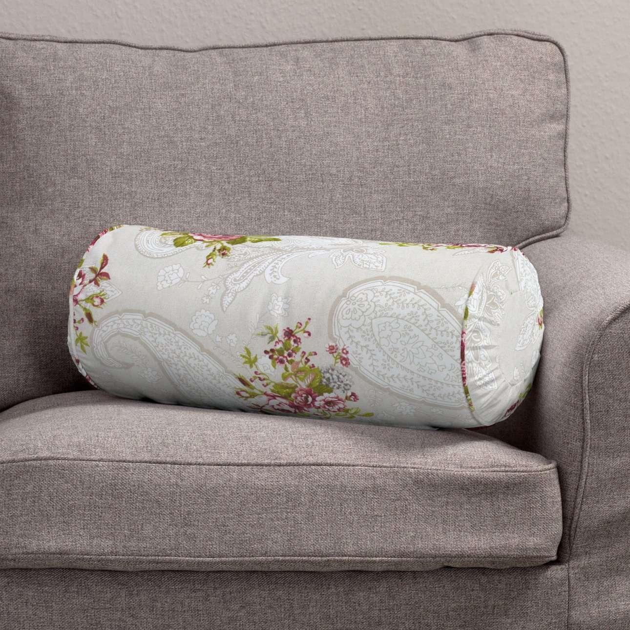 Ritinio formos  pagalvėlės užvalkalas su klostėmis Ø 20 x 50 cm kolekcijoje Flowers, audinys: 311-15