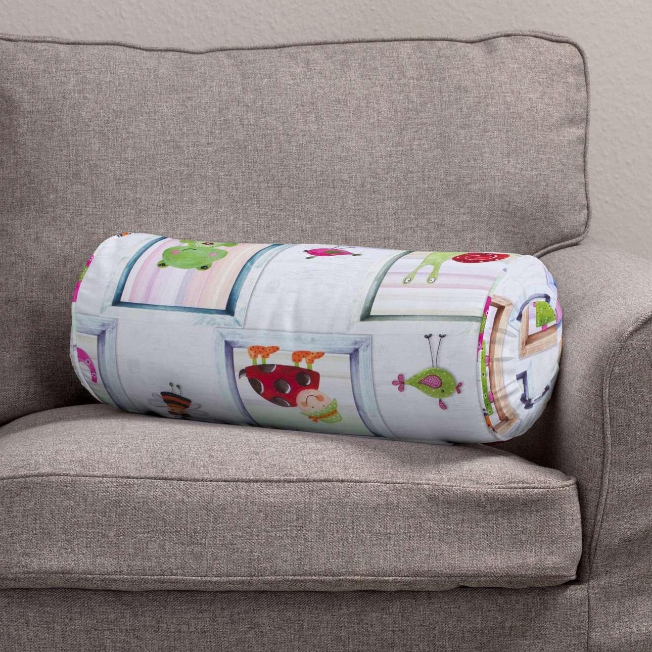 Ritinio formos  pagalvėlės užvalkalas su klostėmis Ø 20 x 50 cm kolekcijoje Apanona, audinys: 151-04