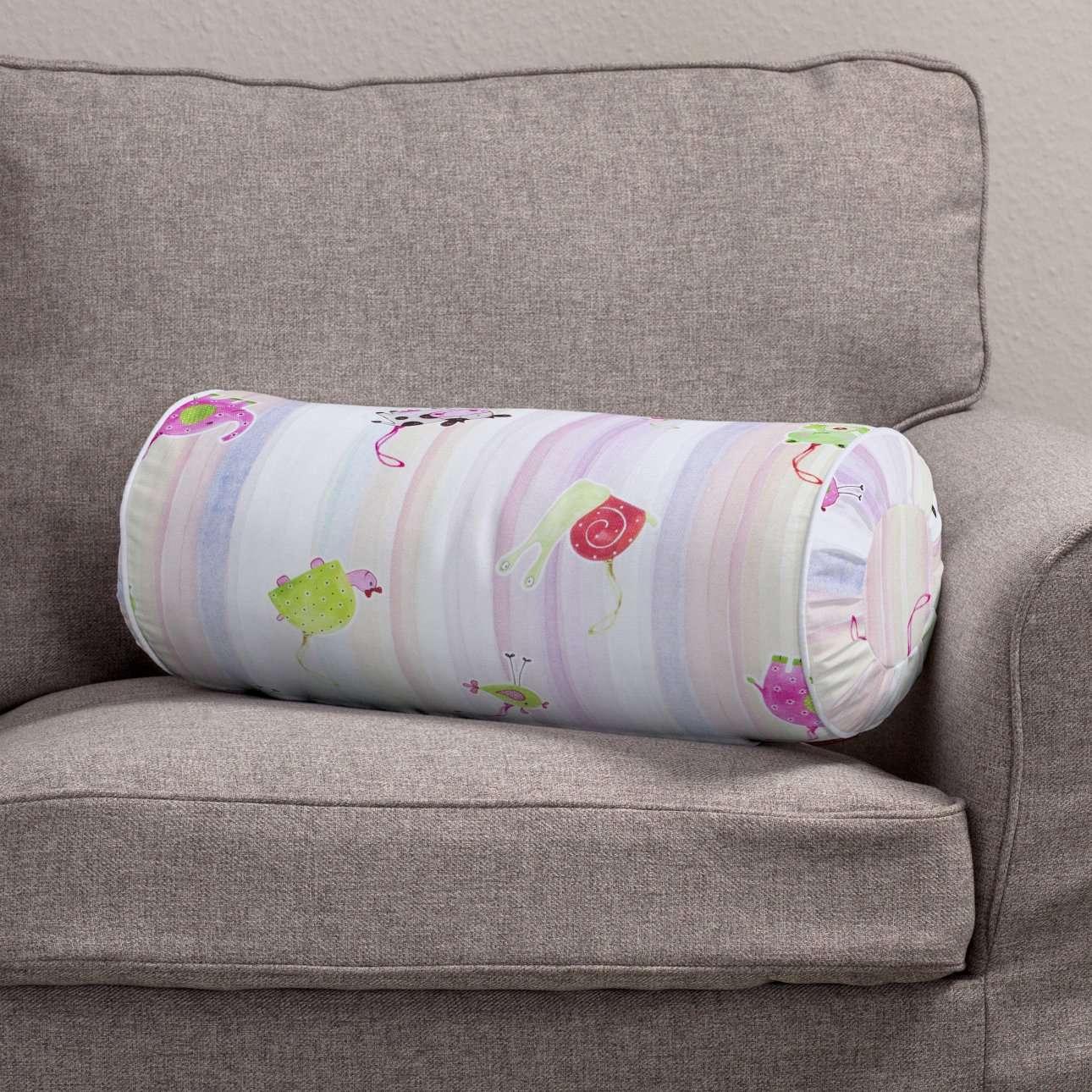 Ritinio formos  pagalvėlės užvalkalas su klostėmis Ø 20 x 50 cm kolekcijoje Apanona, audinys: 151-05