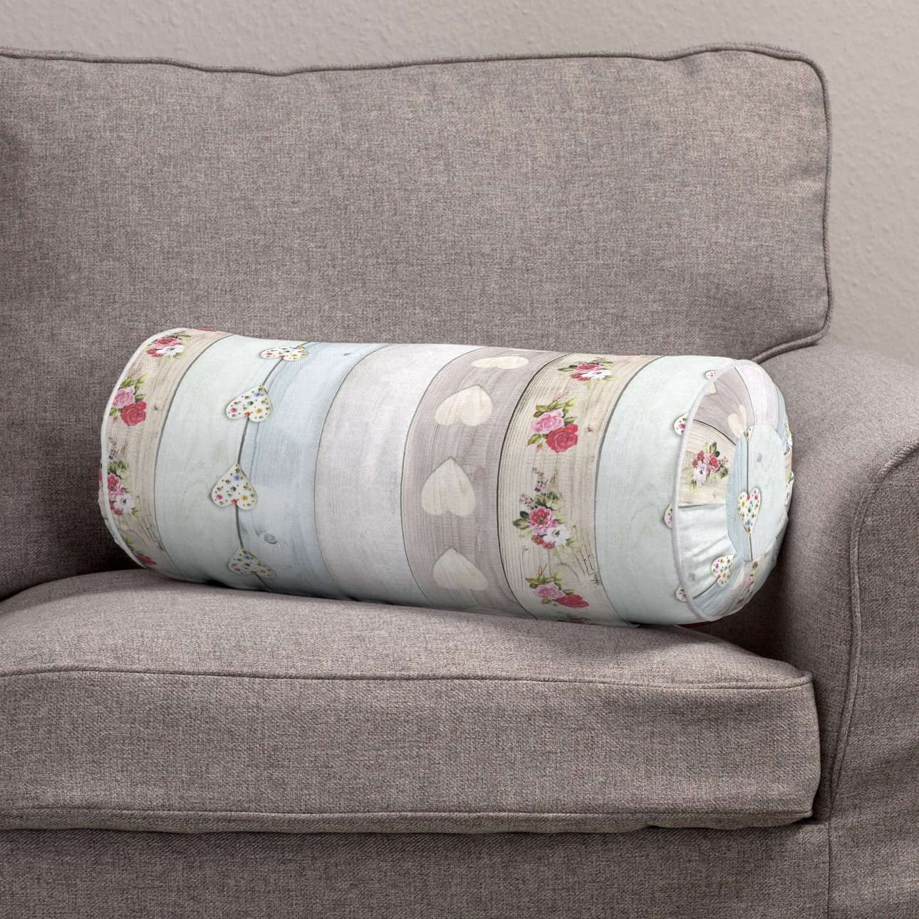 Bolster cushion with pleats Ø 20 × 50 cm (8 × 20 inch) in collection Ashley, fabric: 140-20