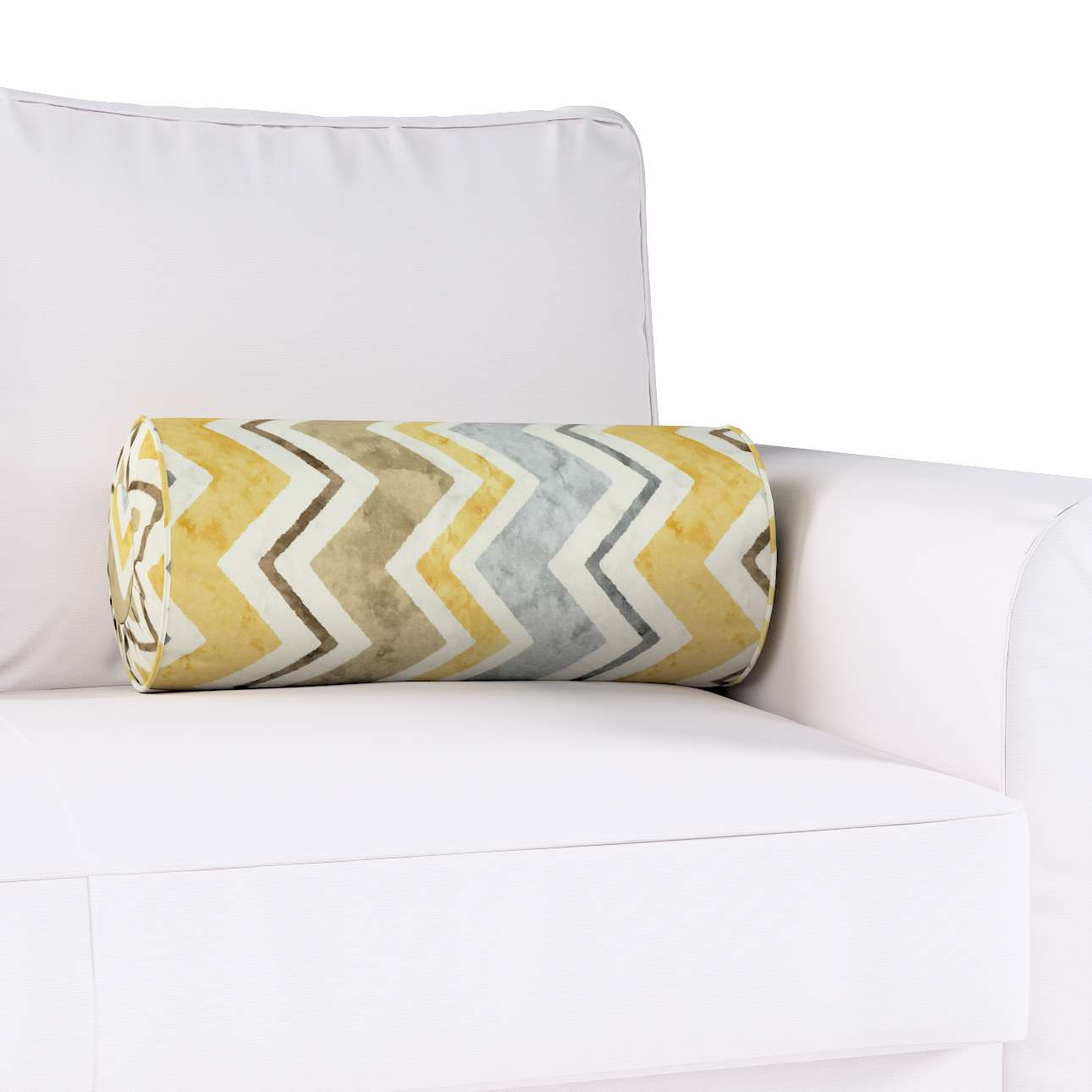 Bolster cushion with pleats Ø 20 × 50 cm (8 × 20 inch) in collection Acapulco, fabric: 141-39