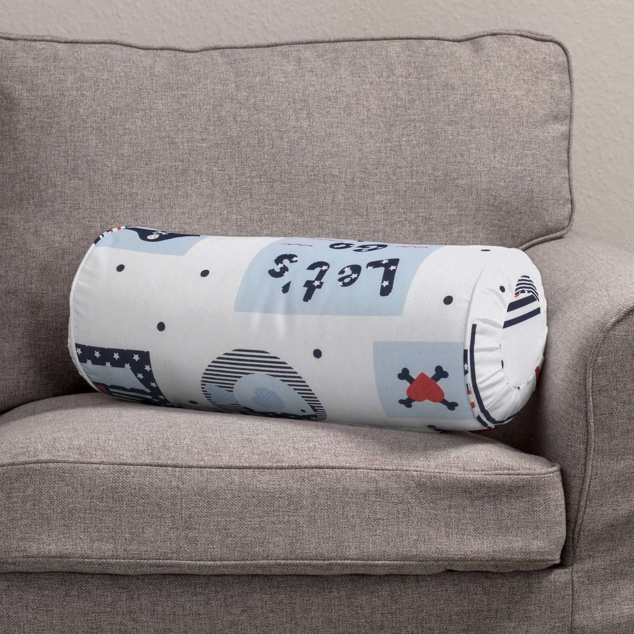 Bolster cushion with pleats Ø 20 × 50 cm (8 × 20 inch) in collection Little World, fabric: 141-29