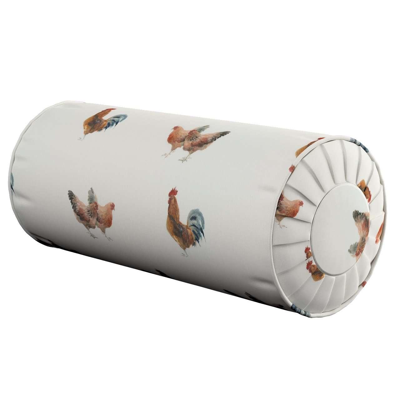 Nackenrolle mit Falten, braun-creme, Ø 20 × 50 cm, Flowers | Schlafzimmer > Kopfkissen | Dekoria