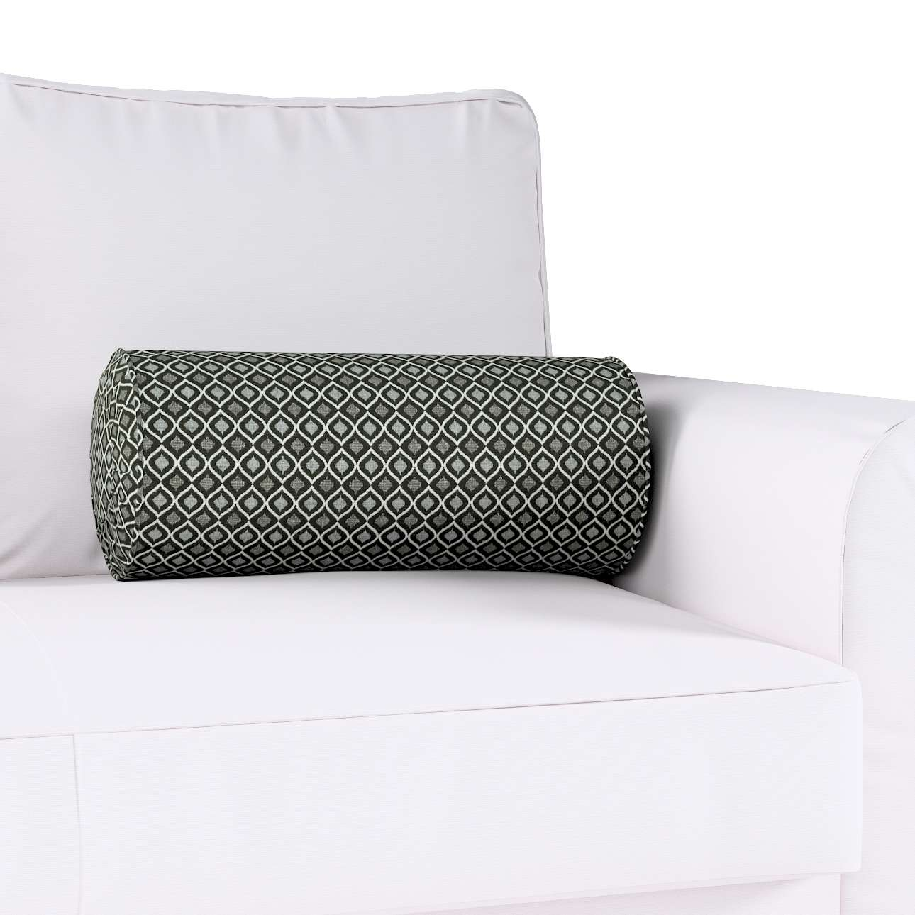 Bolster cushion with pleats in collection Black & White, fabric: 142-86