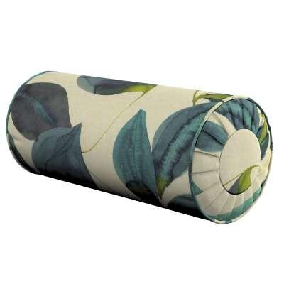 Ritinio formos  pagalvėlė su klostėmis 143-15 lapai smaragdo žalia su purpurine ant lininio fono Kolekcija Abigail