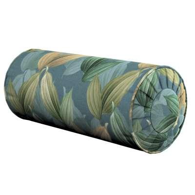 Poduszka wałek z zakładkami 143-20 zielone, beżowe liście na niebiesko-zielonym tle Kolekcja Abigail