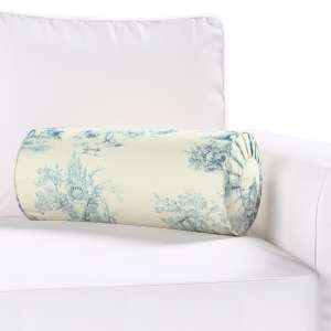 Bolster cushion with pleats Ø 20 x 50 cm (8 x 20 inch) in collection Avinon, fabric: 132-66