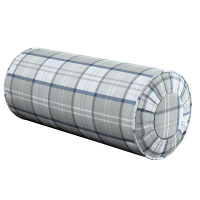 Bolster cushion with pleats 143-65 niebiesko szara blue-gray check on a white background Collection Bristol