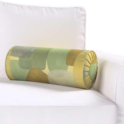 Poduszka wałek z zakładkami 143-72 geometryczne wzory w zielono-brązowej kolorystyce Kolekcja Vintage 70's