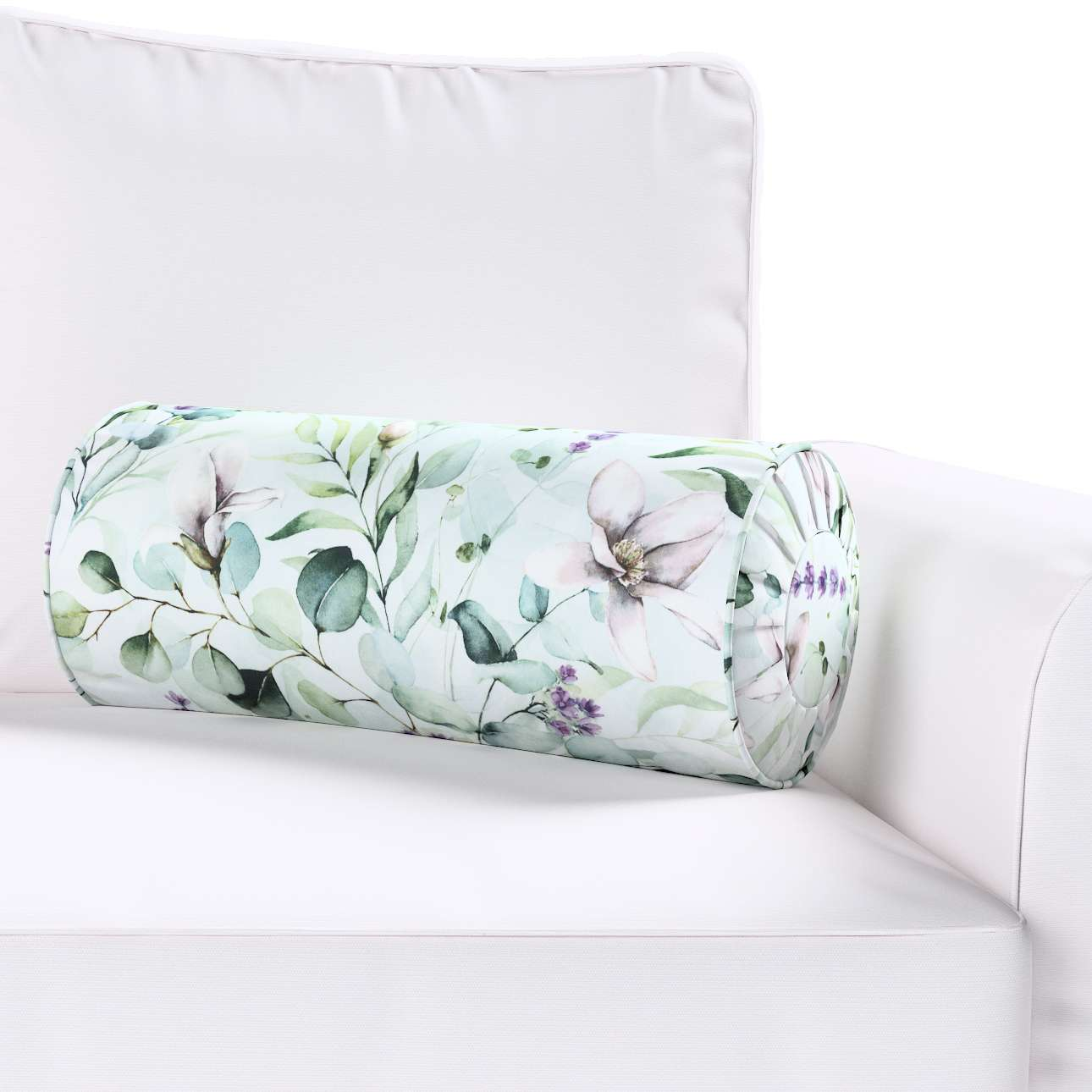 Poduszka wałek z zakładkami w kolekcji Flowers, tkanina: 143-66
