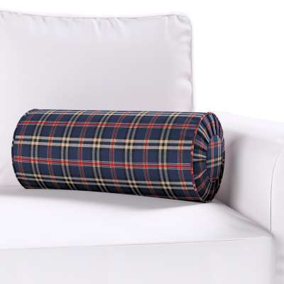 Bolster cushion with pleats 142-68 dark blue and red check Collection Christmas