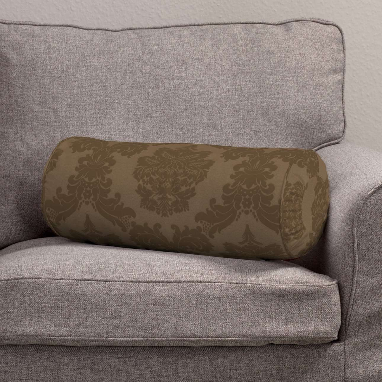 Bolster cushion with pleats Ø 20 × 50 cm (8 × 20 inch) in collection Damasco, fabric: 613-88